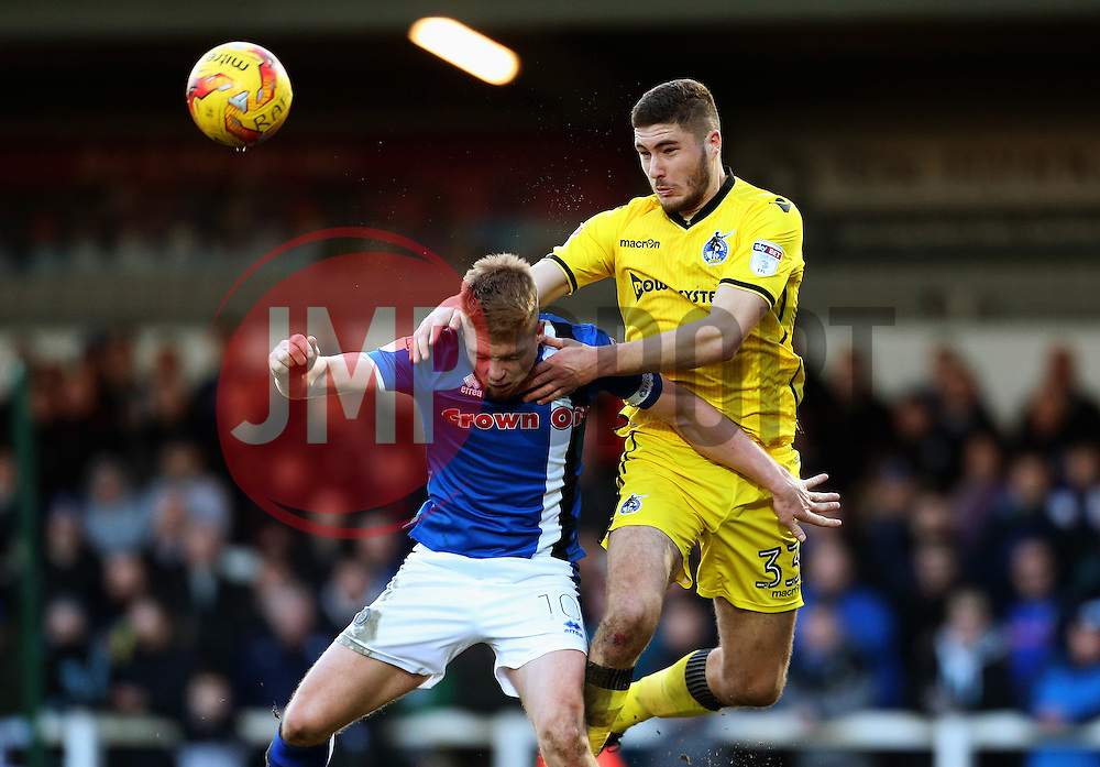 Ryan Sweeney of Bristol Rovers wins a header above Callum Camps of Rochdale - Mandatory by-line: Matt McNulty/JMP - 04/02/2017 - FOOTBALL - Crown Oil Arena - Rochdale, England - Rochdale v Bristol Rovers - Sky Bet League One