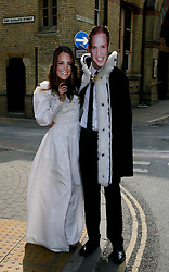 Cambridge, UK  29/04/2011. The Royal Wedding of HRH Prince William to Kate Middleton. Couple dressed as Kate and Will collect money for the Rainbow Trust.  John Ryan as Will and Ellie Couch as Kate. Photo credit should read Jason Patel/LNP.