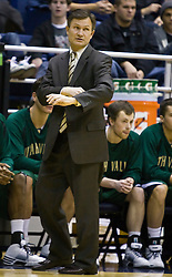 December 28, 2009; Berkeley, CA, USA;  Utah Valley Wolverines head coach Dick Hunsaker  during the first half against the California Golden Bears at the Haas Pavilion.  California defeated Utah Valley 85-51.