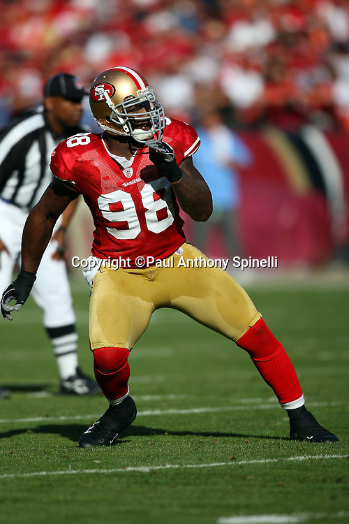 San Francisco 49ers linebacker Parys Haralson (98) makes a move toward the action during the NFL football game against the Tennessee Titans, November 8, 2009 in San Francisco, California. The Titans won the game 34-27. (©Paul Anthony Spinelli)