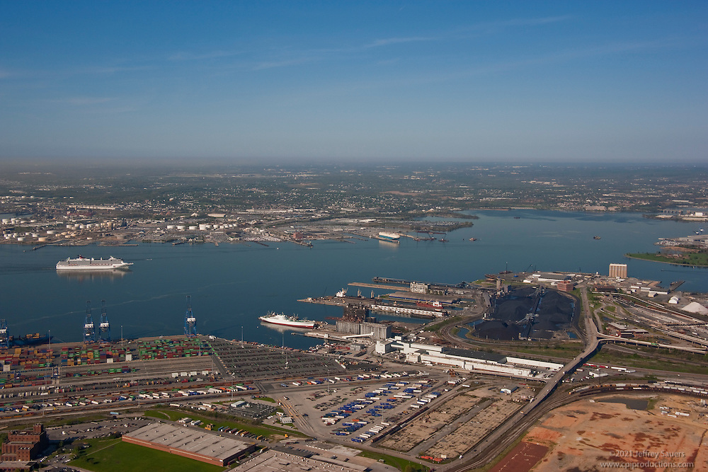 Aerial Shot of Maryland port terminals with cruise ship sailing on Inaugural visit.