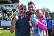 Forest Green Rovers goalkeeper Sam Russell(23) with his father during the Vanarama National League Play Off second leg match between Forest Green Rovers and Dagenham and Redbridge at the New Lawn, Forest Green, United Kingdom on 7 May 2017. Photo by Shane Healey.