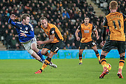 Aron Gunnarsson (Cardiff City) clears the ball during the Sky Bet Championship match between Hull City and Cardiff City at the KC Stadium, Kingston upon Hull, England on 13 January 2016. Photo by Mark P Doherty.