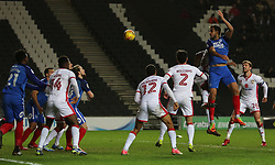 Ryan Tafazolli of Peterborough United heads the ball goalwards - Mandatory by-line: Joe Dent/JMP - 30/12/2017 - FOOTBALL - Stadium MK - Milton Keynes, England - Milton Keynes Dons v Peterborough United - Sky Bet League One