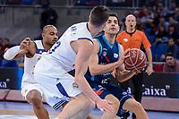 Real Madrid's Dontaye Draper and Jaycee Carroll and Morabanc Andorra's David Navarro during Quarter Finals match of 2017 King's Cup at Fernando Buesa Arena in Vitoria, Spain. February 16, 2017. (ALTERPHOTOS/BorjaB.Hojas)