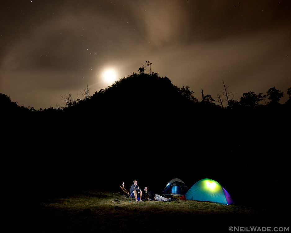 Our camp, high atop SongLuo Hu (???) another mountain lake near Yilan, Taiwan.