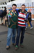 American and South African fan before the game during the Rugby World Cup Pool B match between South Africa and USA at the Queen Elizabeth II Olympic Park, London, United Kingdom on 7 October 2015. Photo by Matthew Redman.