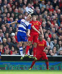 20.10.2012, Anfield, Liverpool, ENG, Premier League, FC Liverpool vs FC Reading | Reading FC, 8. Runde, im Bild Liverpool's captain Steven Gerrard in action against Reading's Pavel Pogrebnyak during the English Premier League 8th round match between Liverpool FC and FC Reading | Reading FC at Anfield, Liverpool, Great Britain on 2012/10/20. EXPA Pictures © 2012, PhotoCredit: EXPA/ Propagandaphoto/ David Rawcliffe..***** ATTENTION - OUT OF ENG, GBR, UK *****