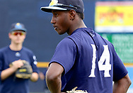 July 5, 2017 - Trenton, New Jersey, U.S - JORGE MATEO (14)  of the double-A Yankees' affiliate Trenton Thunder at fielding practice with the team before the game here at ARM & HAMMER Park tonight vs. the Fightin Phils. (Credit Image: © Staton Rabin via ZUMA Wire)