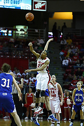 05 February 2011: Kenyatta Shelton controls the tip off during an NCAA Women's basketball game between the Indiana State Sycamores and the Illinois State Redbirds at Redbird Arena in Normal Illinois.