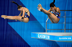 Great Britain's Eden Cheng and Lois Toulson during the Women's Synchronised 10m Platform Final during day six of the 2018 European Championships at Scotstoun Sports Campus, Glasgow.