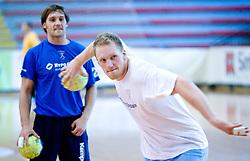Luka and Miha Zvizej at practice of Slovenian Handball Men National Team, on June 4, 2009, in Arena Kodeljevo, Ljubljana, Slovenia. (Photo by Vid Ponikvar / Sportida)