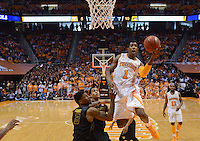 Mar 9, 2013; Knoxville, TN, USA; Tennessee Volunteers guard Josh Richardson (1) during the first half agaist Missouri Tigers forward Tony Criswell (3) at Thompson Boling Arena. Tennessee won 64 to 62. Mandatory Credit: Randy Sartin-USA TODAY Sports