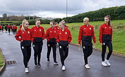 CARDIFF, WALES - Thursday, April 4, 2019: Wales' L-R Charlie Estcourt, Anna Filbey, Megan Wynne, Kylie Nolan, Grace Horrell and goalkeeper Olivia Clarke during a pre-match team walk at the Vale Resort ahead of an International Friendly match between Wales and Czech Republic at Rodney Parade. (Pic by David Rawcliffe/Propaganda)