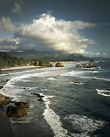 View of Canon Beach from Ecola State Park Oregon USA