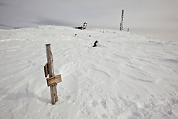 A trail sign marks the Gulfside Trail near the summit of Mount Washington in New Hampshire's White Mountains. Winter.