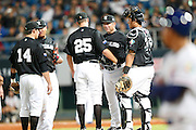 NEW TAIPEI CITY, TAIWAN - NOVEMBER 15:  Andy Skeels manager of Team New Zealand makes a pitching change in the bottom of the fifth inning during Game 2 of the 2013 World Baseball Classic Qualifier against Team Chinese Taipei at Xinzhuang Stadium in New Taipei City, Taiwan on Thursday, November 15, 2012.  Photo by Yuki Taguchi/WBCI/MLB Photos