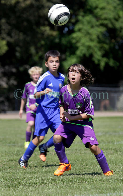 13 September 2015. Gonzales, Louisiana.<br /> U10 New Orleans Jesters Academy team Green against Gonzales Soccer Club. <br /> Photo©; Charlie Varley/varleypix.com