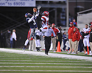 Ole Miss cornerback Charles Sawyer (3) knocks down a pass intended for Louisiana-Lafayette's Vernon Wolfe (80) in Oxford, Miss. on Saturday, November 6, 2010. Ole Miss won 43-21.
