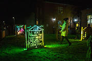 Gravestones. Part of the 'R.I.P It Up & Start Again' installation by Richie Moment as part of the Cheriton Light Festival 2018 in St Andrew's Church Gardens, Folkestone, Kent, United Kingdom. The idea of this exhibition is to show what people want to say once they're dead.<br /> (photo by Andrew Aitchison / In pictures via Getty Images)