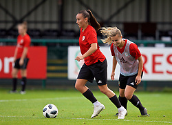 NEWPORT, WALES - Tuesday, November 6, 2018: Wales' Natasha Harding and Ella Powell during a training session at Dragon Park ahead of two games against Portugal. (Pic by Paul Greenwood/Propaganda)
