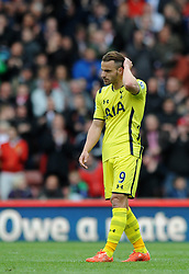 Tottenham Hotspur's Roberto Soldado cuts a dejected figure - Photo mandatory by-line: Dougie Allward/JMP - Mobile: 07966 386802 - 09/05/2015 - SPORT - Football - Stoke - Britannia Stadium<br />  - Stoke v Tottenham Hotspur - Barclays Premier League