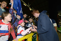 Bristol Rugby's Jack Tovey meets fans at the end of the game - Photo mandatory by-line: Dougie Allward/JMP - Mobile: 07966 386802 - 17/04/2015 - SPORT - Rugby - Bristol - Ashton Gate - Bristol Rugby v Jersey - Greene King IPA Championship