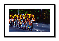 Lech Piasecki, Tour de France 1987<br /> <br /> Leading the Del Tongo team in the team time trial in West Berlin. This is from an era when a team was allowed to wear yellow during the Tour de France despite the clash with the maillot jaune.