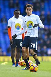 Dele Alli of Tottenham Hotspur warms up wearing a Noah's ark children's hospice t-shirt, #preciousmoments - Mandatory by-line: Jason Brown/JMP - 05/03/2017 - FOOTBALL - White Hart Lane - London, England - Tottenham Hotspur v Everton - Premier League