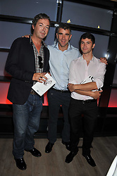 Left to right, JULIAN CLARY, IVAN MASSOW and ANDY BARTLETT at a party to celebrate the publication of Joan Collin's  autobiography - The World According to Joan, held at the British Film Institute, South Bank, London SE1 on 8th September 2011.