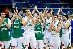 Uros Slokar of Slovenia, Matjaz Smodis of Slovenia, Mirza Begic of Slovenia, Edo Muric of Slovenia, Luka Rupnik of Slovenia, Goran Jagodnik of Slovenia, Goran Dragic of Slovenia, Samo Udrih of Slovenia and Saso Ozbolt of Slovenia celebrate after winning the basketball game between National basketball teams of Slovenia and Finland at FIBA Europe Eurobasket Lithuania 2011, on September 12, 2011, in Siemens Arena,  Vilnius, Lithuania.  Slovenia defeated Finland 67-60. (Photo by Vid Ponikvar / Sportida)