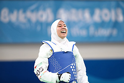 BUENOS AIRES, Oct. 12, 2018  Fatima-Ezzahra Aboufaras of Morocco celebrates after the women's +63kg final of taekwondo against Kimia Hemati of Iran at the 2018 Summer Youth Olympic Games in Buenos Aires, Argentina on Oct. 11, 2018. Fatima-Ezzahra Aboufaras won 18-16. (Credit Image: © Li Ming/Xinhua via ZUMA Wire)