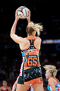 SYDNEY, NSW - JUNE 16: Caitlin Bassett of the Giants catches the ball during the round 8 Super Netball match between the Sydney Swifts and the Giants at Qudos Bank Arena on June 16, 2019 in Sydney, Australia.(Photo by Speed Media/Icon Sportswire)