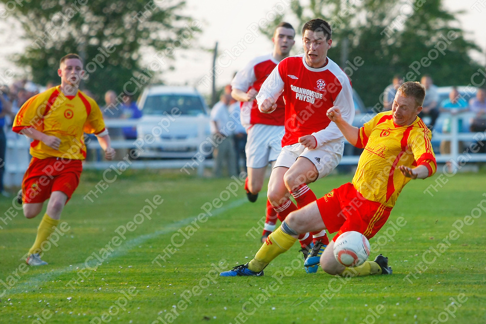 25/05/12<br /> Eoin Hayes of Newmarket Celtic is brought down by Gary Seery of Avenue United B in the Clare Cup Final at the County Ground in Doora.<br /> Picture: Don Moloney / Press 22