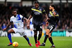 Abu Ogogo of Bristol Rovers is challenged by Anthony Grant of Shrewsbury Town and Scott Golbourne of Shrewsbury Town - Mandatory by-line: Ryan Hiscott/JMP - 09/02/2019 - FOOTBALL - Memorial Stadium - Bristol, England - Bristol Rovers v Shrewsbury Town - Sky Bet League One