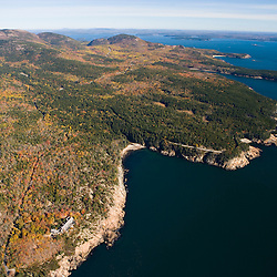 The coastline of Maine's Acadia National Park from the air.  Fall.