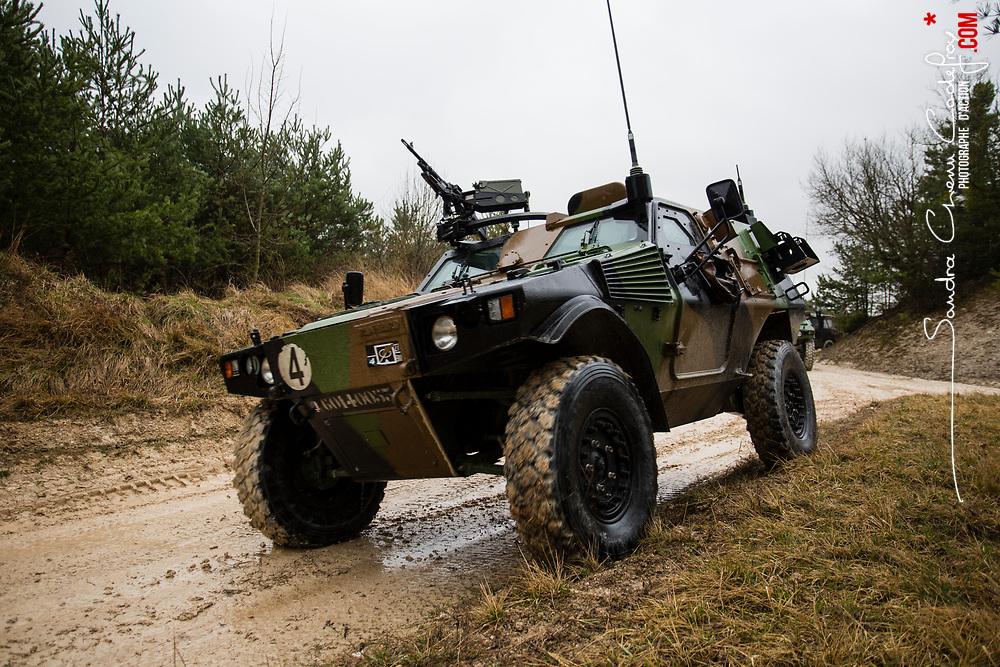 Campagne de tir ERC 90 Sagaie et AMX 10 RC du 2&egrave;me escadron du 4&egrave;me R&eacute;giment de Chasseurs au camp militaire de Mailly. <br /> Mars 2017 / Mailly le camp (10) / FRANCE<br /> <br /> Voir le reportage complet (115 photos) http://sandrachenugodefroy.photoshelter.com/gallery/2017-03-Campagne-de-tir-du-4eRCh-a-Mailly-Complet/G0000lZlDAtwkhgI/C0000yuz5WpdBLSQ