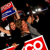 CORAL GABLES, FL -- November 2, 2010 -- Marisa Da Silva of Miami, left to right, and Gladys Llanes of Miami cheer for Republican Senate candidate Marco Rubio after his win was called at The Biltmore Hotel in the Coral Gables area of Miami, Fla., on the Mid-Term Election Day on Tuesday, November 2, 2010.  Rubio won the three-way race for the seat over Independent Gov. Charlie Crist and Democrat Kendrick Meek.