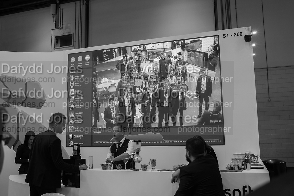 Facial recognition software giving information about  visitors to the fair, Ice, Excel Centre, London, 5 February 2019