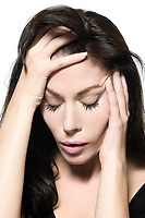studio shot portrait on isolated white background of a Beautiful Woman hangover sad migraine grief depression