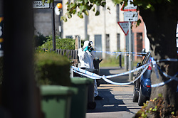 © Licensed to London News Pictures. 27/09/2018. London UK: Police and forensic officers at the scene of a shooting in Tilbury, Essex, where a 19 year old male was found with gun shot wounds to his stomach on Wednesday evening. He was rushed to hospital where his condition is critical but stable , Photo credit: Steve Poston/LNP