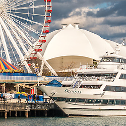Chicago Navy Pier panoramic picture with the Ferris Wheel and Spirit boat. Panorama ratio is 1:3. Image Copyright © Paul Velgos All Rights Reserved.