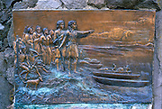 Bronze carving depicting Lewis and Clark's arrival at the Columbia River in 1805, Columbia River Gorge National Scenic Area, Oregon