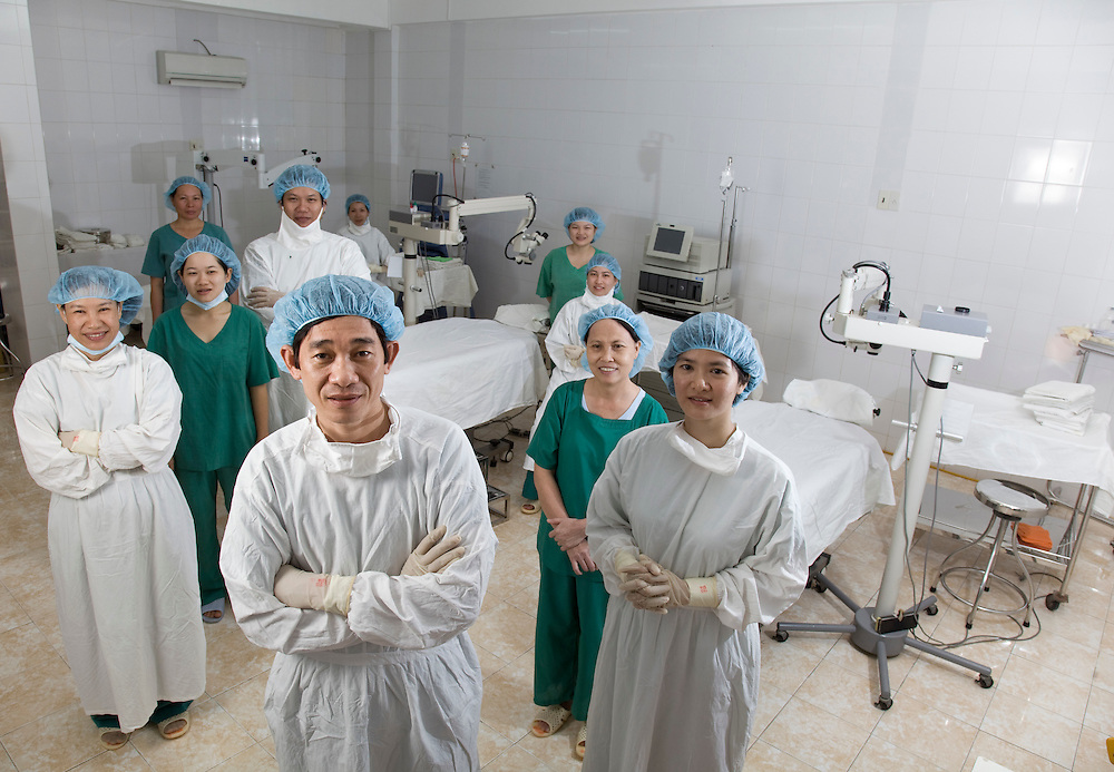 Dr Nguyen Thanh Triet Director of Binh Dinh Eye Hospital with some of his team.before starting a days cataract surgery.