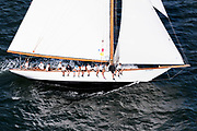 Marilee sailing in the Panerai Newport Classic Yacht Regatta, day one.