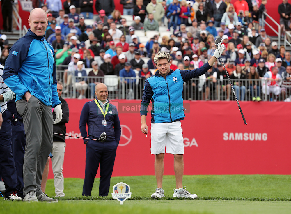 Europe's Niall Horan and Paul O'Connell (left) during a celebrity golf match ahead of the 41st Ryder Cup at Hazeltine National Golf Club in Chaska, Minnesota, USA.