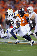 Los Angeles Chargers cornerback Casey Hayward (26) returns a Denver Broncos fourth quarter fumble to the Chargers 38 yard line during the 2017 NFL week 1 regular season football game against the Denver Broncos, Monday, Sept. 11, 2017 in Denver. The Broncos won the game 24-21. (©Paul Anthony Spinelli)