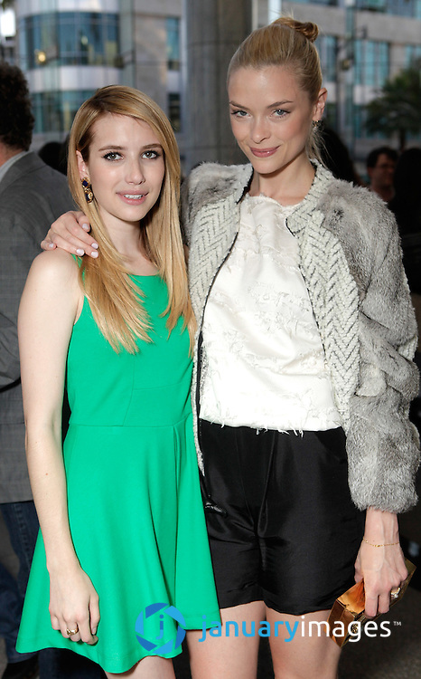 "BEVERLY HILLS, CA - JUNE 06:  Emma Roberts and Jamie King attend a Fox Searchlight screening Of ""The Art Of Getting By"" at Clarity Theater on June 6, 2011 in Beverly Hills, California.  (Photo by Todd Williamson/WireImage)"