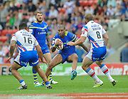 Warrington Wolves Ryan Bailey spots a gap between Wakefield Trinity Wildcats Tinirau Arona and Nick Scruton during the Ladbrokes Challenge Cup Semi-Final  match Warrington Wolves -V- Wakefield Trinity Wildcats at , Leigh, Greater Manchester, England on Saturday, July 30, 2016. (Steve Flynn/Image of Sport)