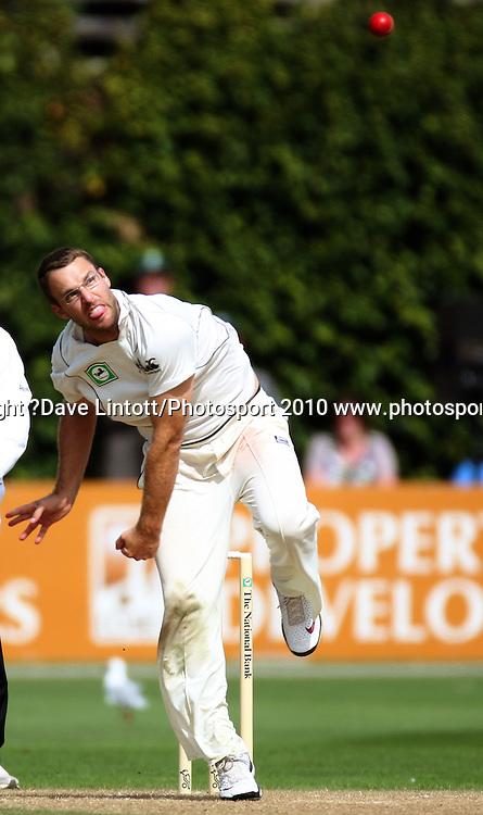 NZ captain Daniel Vettori bowls.<br /> 1st cricket test match - New Zealand Black Caps v Australia, day two at the Basin Reserve, Wellington.Saturday, 20 March 2010. Photo: Dave Lintott/PHOTOSPORT